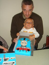 Sebby's 2nd birthday with dad