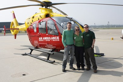 The team (minus Dad) and the heli