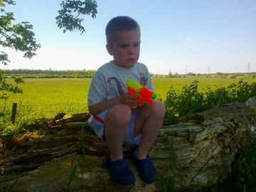 My Grandson at the tree