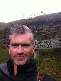 Its hard to smile taking a selfie in a gale, even in Cornwall!