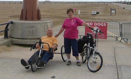Danny and Liz with the bikes