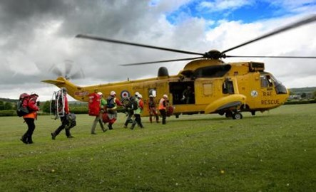 Me and the Team boarding an RAF Sea King