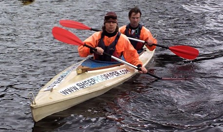 The Poo Canoe being deep water tested