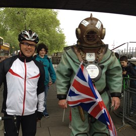 Walking 27 miles in that diving suit! Makes a bike ride to Paris seem quite easy. :-)