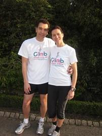 Edward and Julia in their Climb T-Shirts