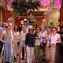 Michael, Lara, Kareen, Natalia, Issam and Alexander Fares with friends who fell in love with Lebanon