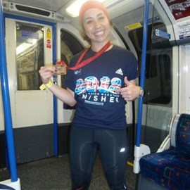 On train home in my finisher shirt!
