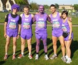 All purple and smiling before the start!