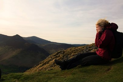 Gail force winds on Cat Bells...