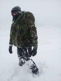 Russ in the deep snow.