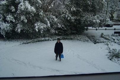 Delivering leaflets in the snow!