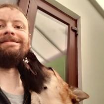 Andrew  Kira the dog RNLI Reindeer Run