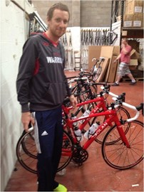 Sir Brad checking out our bikes