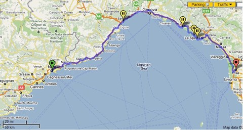Nice to Pisa complete route