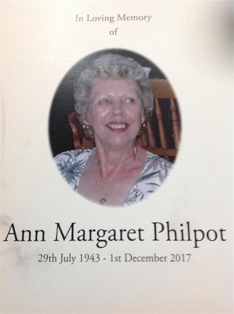 In memory of Ann Philpot (my rock)