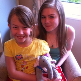 This is me and my sister with her oliphant which was made by a lovely lady in memory of her son, Oliver who sadly lost his battle with leukaemia, please donate so cures can be made and to end the suffering of innocent lives