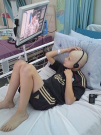 Lounging about watching TV in hospital