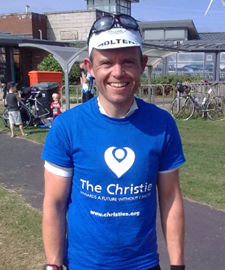 Chris Loxley at end of 136 miles bike ride. Fresh as a daisy!