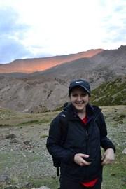 Louise at sunset after first day's trek - a smidgen easier than the days that followed.