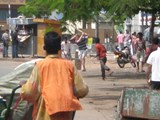 Playing street cricket in Sri Lanka