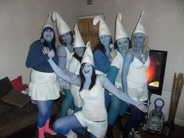 Sarah's Smurfday! She's in the front! :)