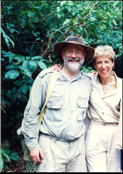 Sir Terry Pratchett out in the field with Orangutan Foundation director, Ashley Leiman OBE (1994).