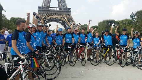 The 17 strong Parkinson's cycle group. Together here at the Eiffel tower after having cycled 300 miles. A sum total so far is £23,000… more is needed…