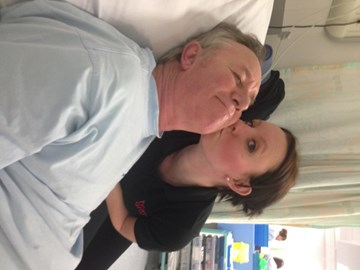 Me with Dad in hospital after collapsing